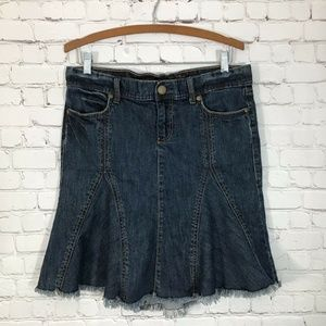 Old Navy Flared Stretch Denim Skirt Hi Lo Hem 8